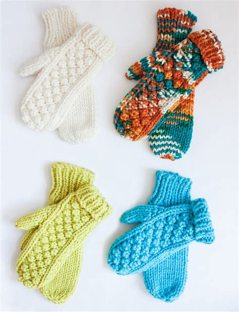 how to knit a thumb bernat chill chaser set hat mittens cowl knit pattern