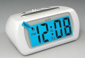 acctim white auric alarm clock blue lcd battery operated digital lighted ebay