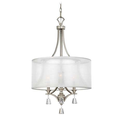 Modern White Nickel Drum Shade Frederick Ramond Mime Brushed Nickel Pendant Light With