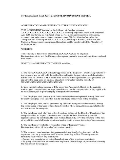 Agreement Letter For Appointment 1yr Employment Bond Agreement Appointment Letter