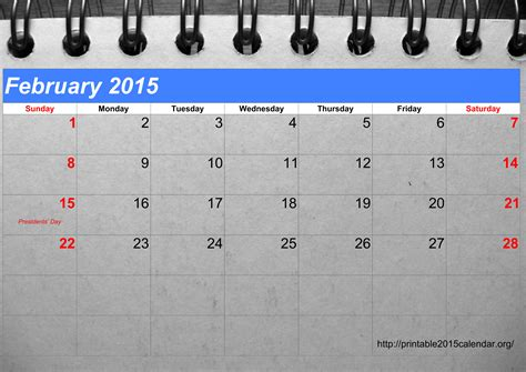 calendar template february 2015 5 best images of printable february calendar numbers