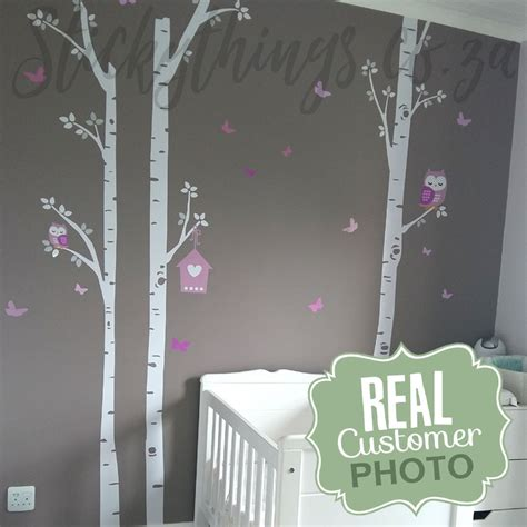 owl trees wall sticker owl birch trees wall decal