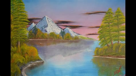 bob ross painting water reflections reflections wm on canvas inspired by bob ross