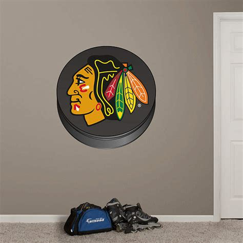 Blackhawks Fathead Giveaway - chicago blackhawks puck logo fathead wall decal