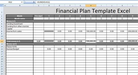 Financial Planning Templates Excel Free by Financial Plan Template Excel Free Spreadsheettemple