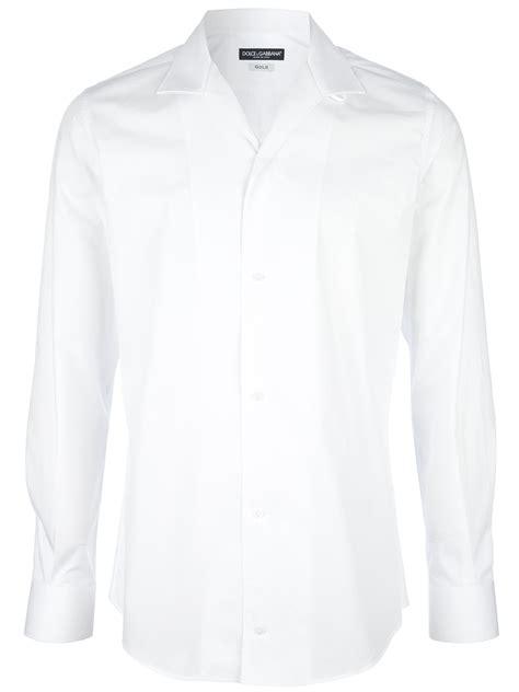 Dolce Gabbanacotton Bib Shirt dolce gabbana open collar shirt in white for lyst