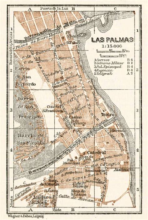 printable map gran canaria old map of las palmas de gran canaria center in 1911 buy