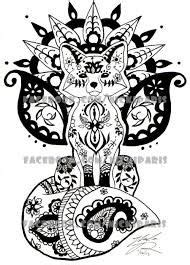 animal henna tattoo designs zentangle vector happy fox for adult anti stress coloring