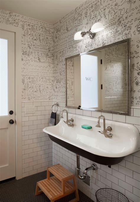 Black White Bathroom Wallpaper by Kohler Brockway Bathroom Farmhouse With Black And White