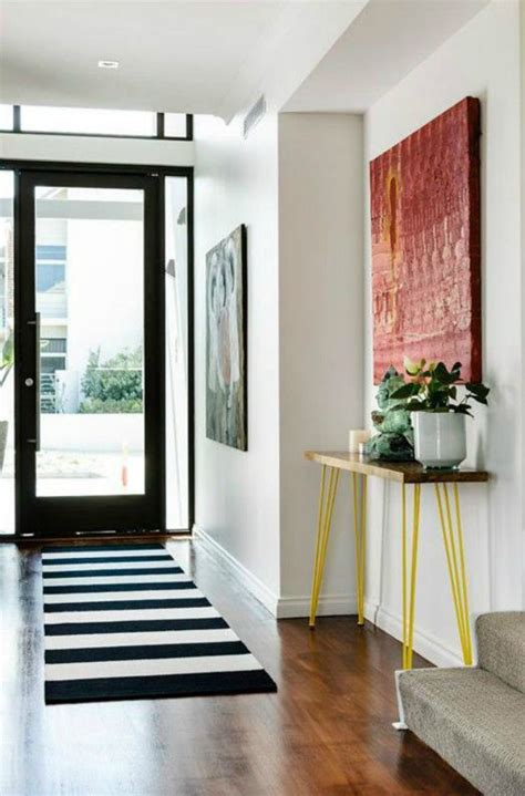 Entryway Table And Striped Rug Room Inspiration Pinterest Entryway Rugs