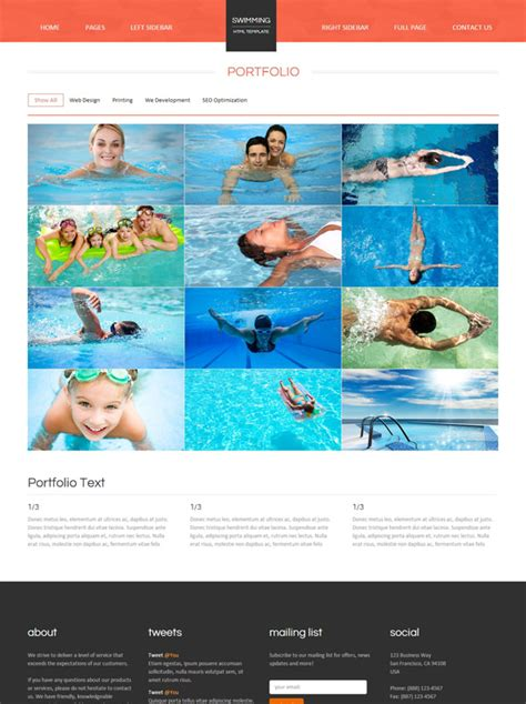 Swimming Club Web Template Swimming Website Templates Dreamtemplate Swim Team Website Templates