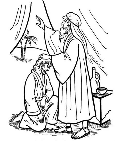 coloring page of jacob and esau isaac give his blessing to jacob in jacob and esau