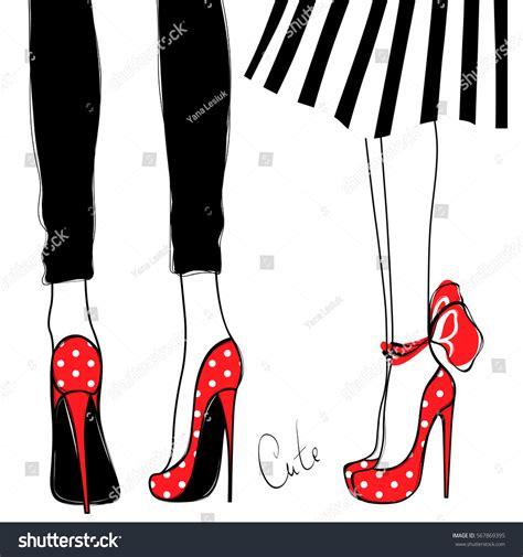 fashion illustration legs vector high heels fashion illustration stock vector