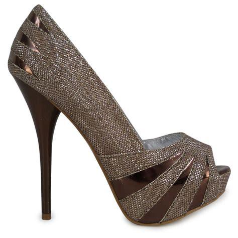 bronze high heel shoes t62 bronze glitter high heel slip on peeptoe