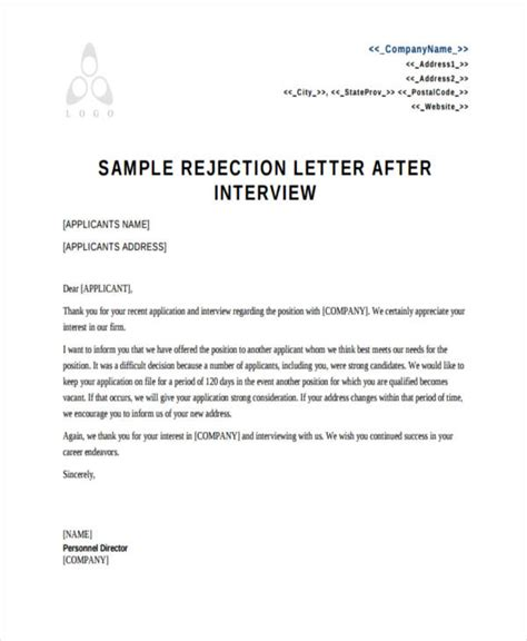 thank you letter after internship rejection sle rejection letter to applicant after
