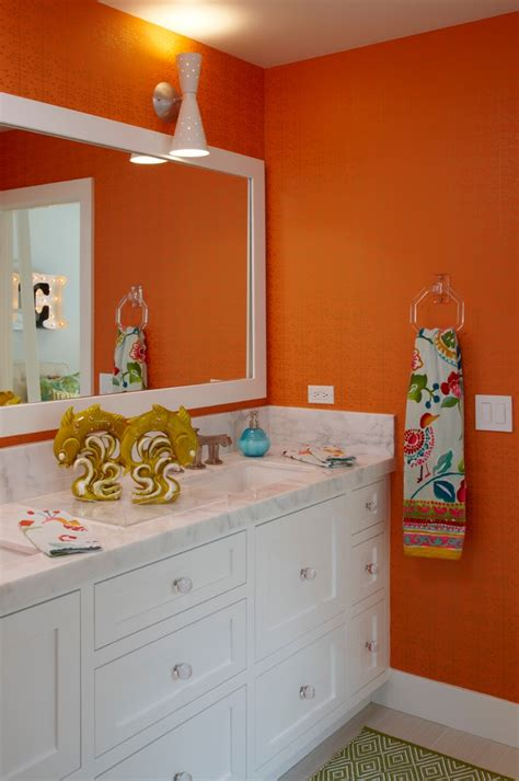 orange bathrooms citrus colors are back tour these 7 summery bathrooms