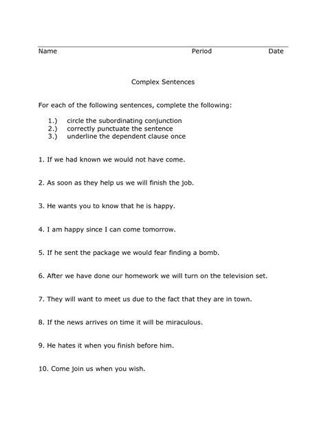 17 best images of compound complex sentences worksheet