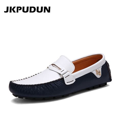 luxury mens loafers aliexpress buy jkpudun genuine leather italian