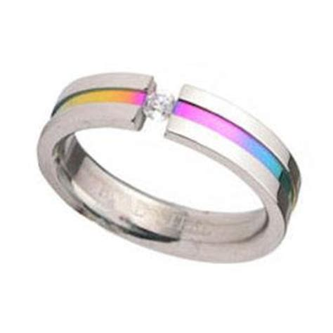 pride rainbow anodized stainless steel ring w