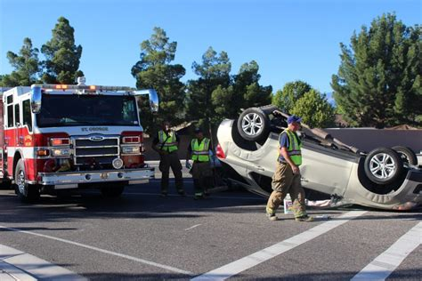 3 vehicle crash flips car and injures 2 on river