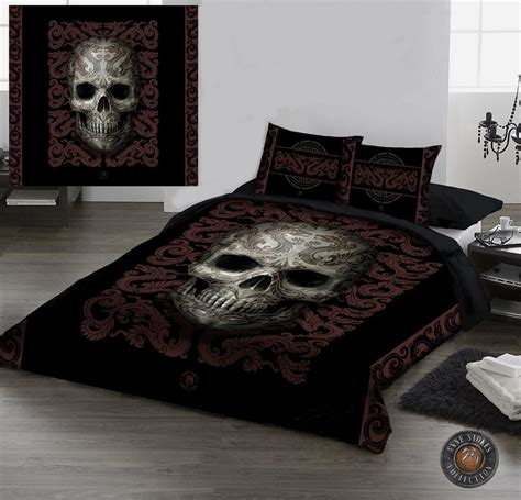 gothic comforter oriental skull duvet pillow covers set uk double us