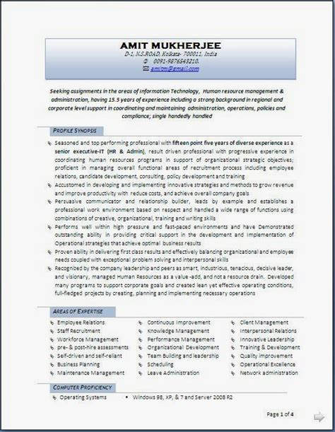 resume format for experienced hr professionals resume sles for experienced hr professionals 100