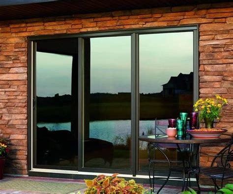 Fiberglass Sliding Glass Doors Bronze Fiberglass 3 Panel Sliding Patio Door With Low E