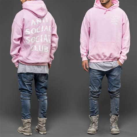 Hoodie Assc Anti Social Social Club Real Picture anti social social club pink hoodie wehustle menswear