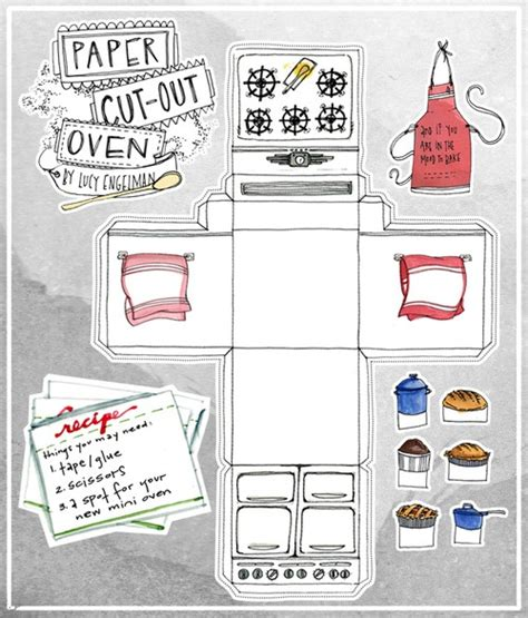 How To Make A Paper Oven - paper cutout oven food illustration ovens