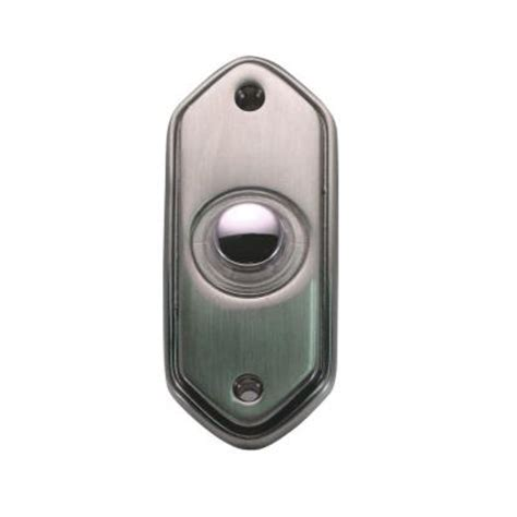 iq america wired lighted doorbell push button pewter dp