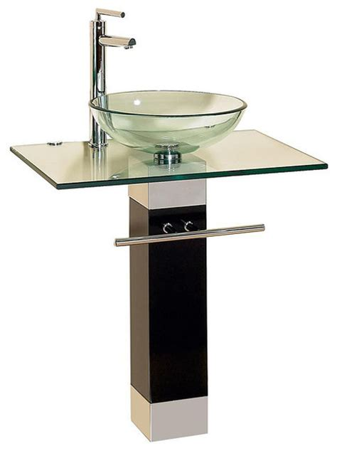 contemporary bathroom sink bathroom vanities wood pedestal glass vessel sink combo