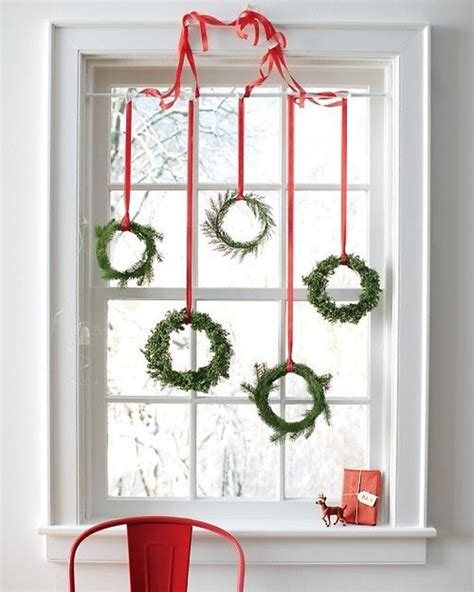15 christmas window decoration with wreaths and garlands house design and decor