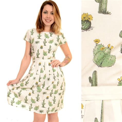 cactus print dress by run and fly