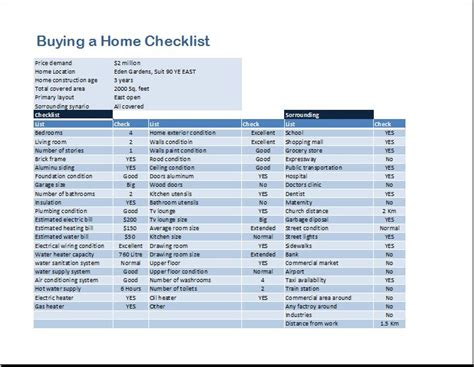 checklist when buying a house buying a home checklist template word excel templates