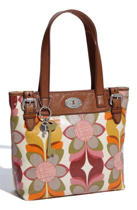 fossil kanvas fossil vintage key per coated canvas shopper in brown