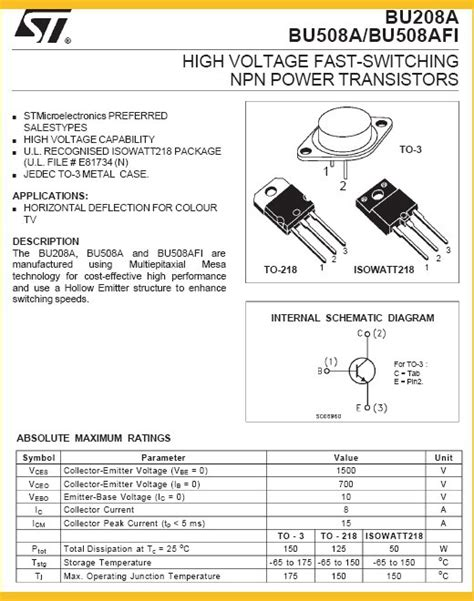 high voltage fast switching transistor bu508a transistor npn to218 power high voltage fast switching