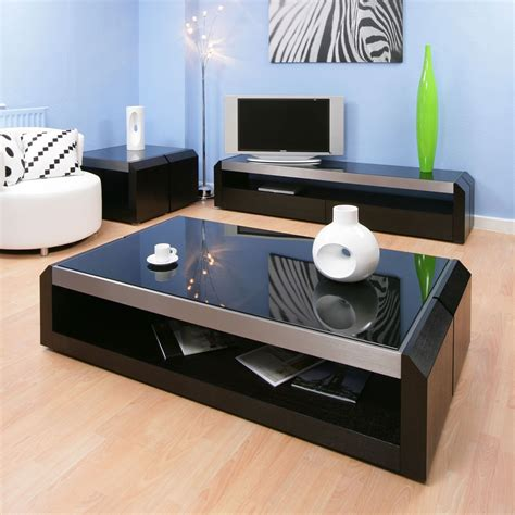 large black oak glass coffee l side table modern