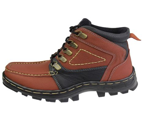 mens boys mild leather comfort boots casual flat lace up