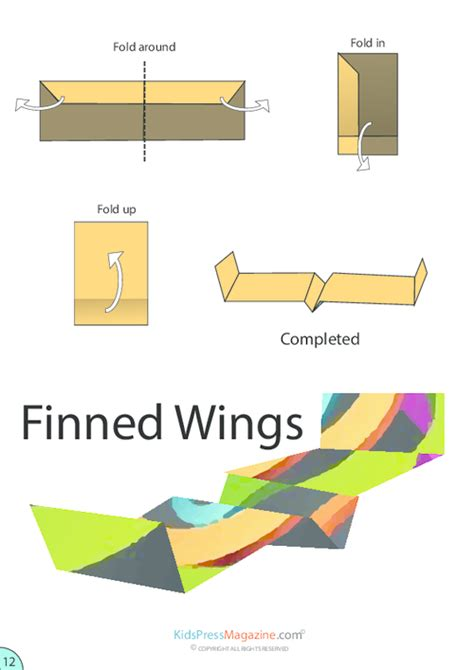 Medium Level Origami - finned wings airplane origami kidspressmagazine