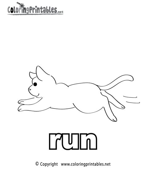 printable pictures verbs free printable verb run coloring page