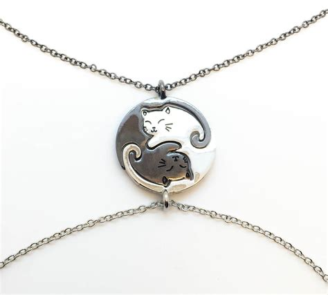 yin yang cats necklace set bff cat necklace friendship by