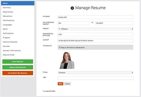 resume plugin moosocial resume