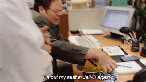 The Office Jello by The Office Jello Prank Gif Dwight Jim Pranks Discover