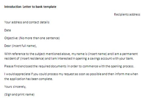 introduction letter  bank template letter  introduction