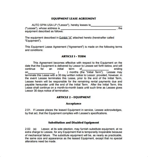 9 Equipment Lease Agreement Templates Sle Templates Equipment Lease Agreement Template