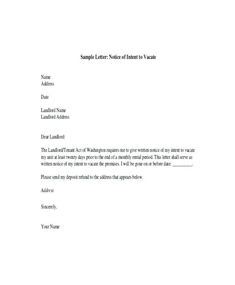 Letter Of Intent To Lease Premises intent to vacate letter notice of intent to vacate