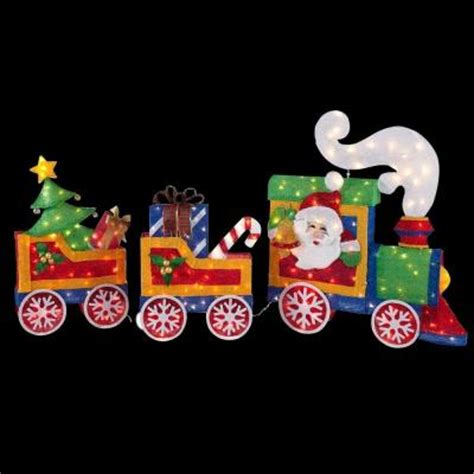 home depot lawn decorations home accents holiday 76 in lighted tinsel train ty555