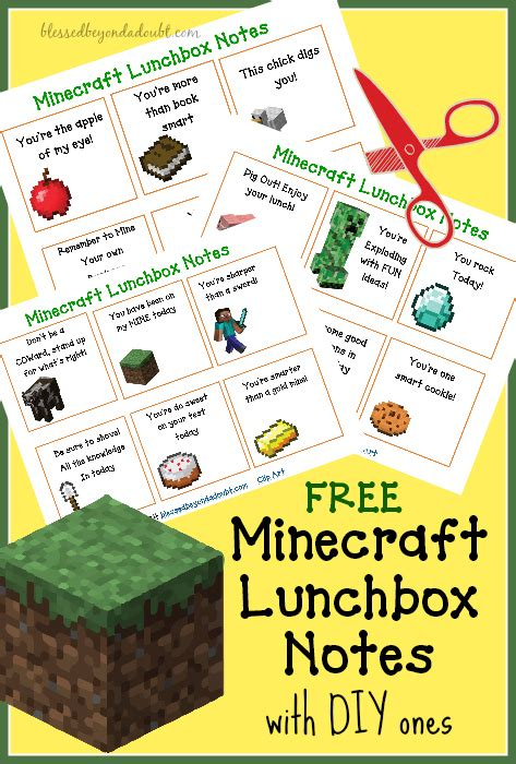 printable minecraft jokes free lunchbox notes minecraft armor and more note