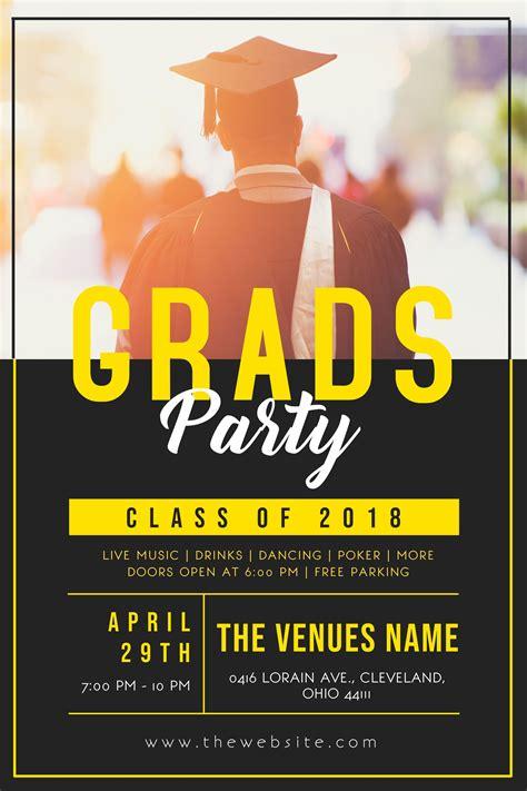 invitation flyer grad party invitation flyer poster template graduation