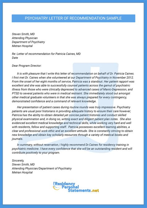 Recommendation Letter Format For Residency Great Psychiatry Letter Of Recommendation Sle